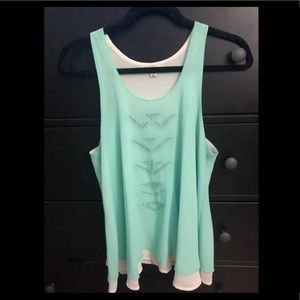 Green/blue silk blend tank size M